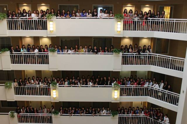 This wasn't even everyone there! Lambda Chapter sisters are front and center on the top-most floor. :)