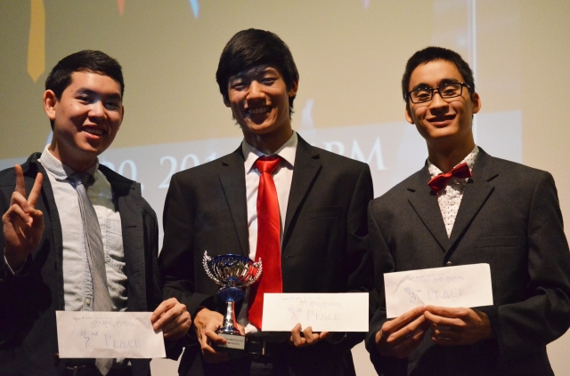 From left to right: 1st runner-up, Kevin Quach; Mr. Asian American 2014, Kevin Wu; 2nd runner-up, Shota Ono