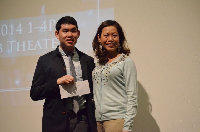 1st runner-up Kevin Quach with his mother; both his parents came out to support him! (: